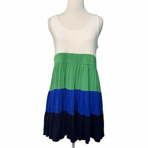 XXI Green White Blue Baby Doll Tunic Top Size Med